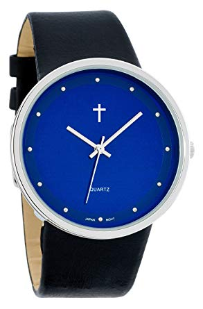 Watch with Cross Logo - Belief Women's | Funky Minimalist Large Blue Face Black Band Watch ...