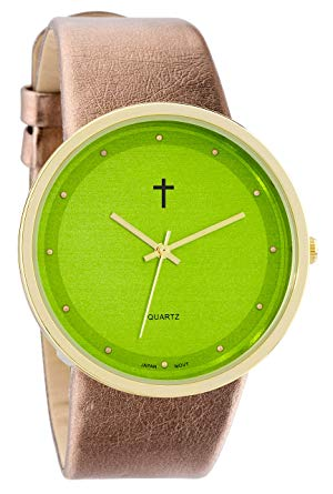 Watch with Cross Logo - Belief Women's | Funky Minimalist Large Green Face Metalic Gold Band ...