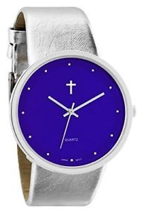 Watch with Cross Logo - Belief Women's | Sporty Blue Face Silver Band Watch with Cross Logo ...