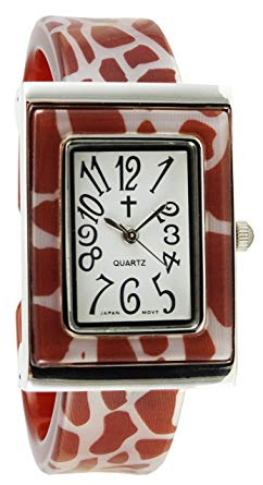 Watch with Cross Logo - Belief Women's | Giraffe Pattern Rectangular Face Plastic Bangle ...