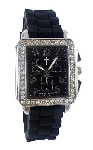 Watch with Cross Logo - Belief Women's | Rinestones Black Face Black Silicon Band Watch with ...