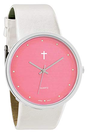 Watch with Cross Logo - Belief Women's | Funky Minimalist Large Baby Pink Face Pearly White ...