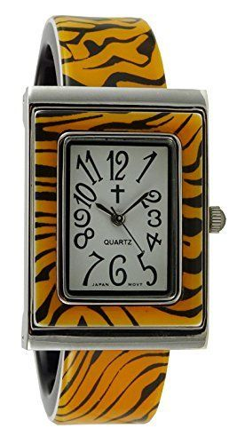 Watch with Cross Logo - Qoo10 - Belief Womens | Tiger Pattern Rectangular Face Plastic ...
