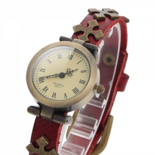 Watch with Cross Logo - Delicate Single Rope Metal Watchcase Leather Band Women's Watch with ...