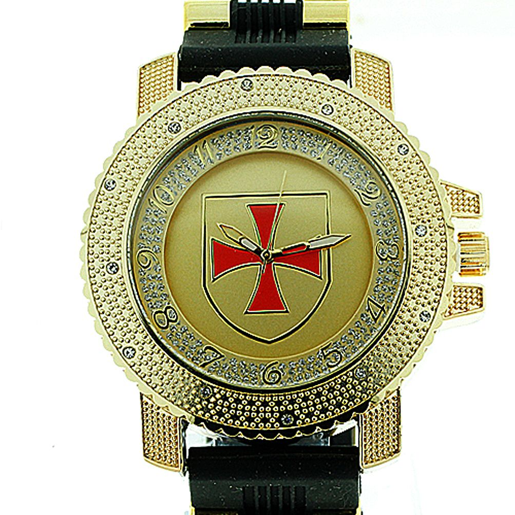 Watch with Cross Logo - Knights of Templar Watch - Shield with Red Cross - Black Silicone ...