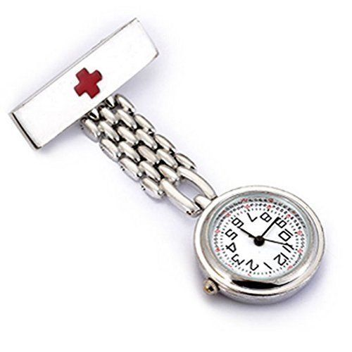 Watch with Cross Logo - WZC Silver Quartz Stainless Steel Red Cross Nurses Lapel Pin Watch ...