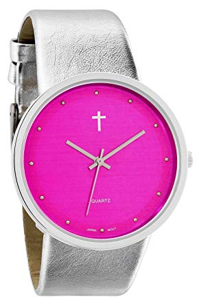 Watch with Cross Logo - Beleif Women's | Funky Minimalist Large Pink Face Metalic Silver ...