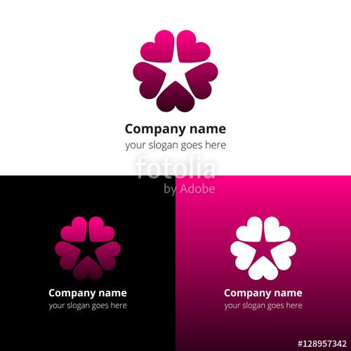 Circle around a Star Logo - Love star logo. Pink icon heart goes around in a circle to form a ...