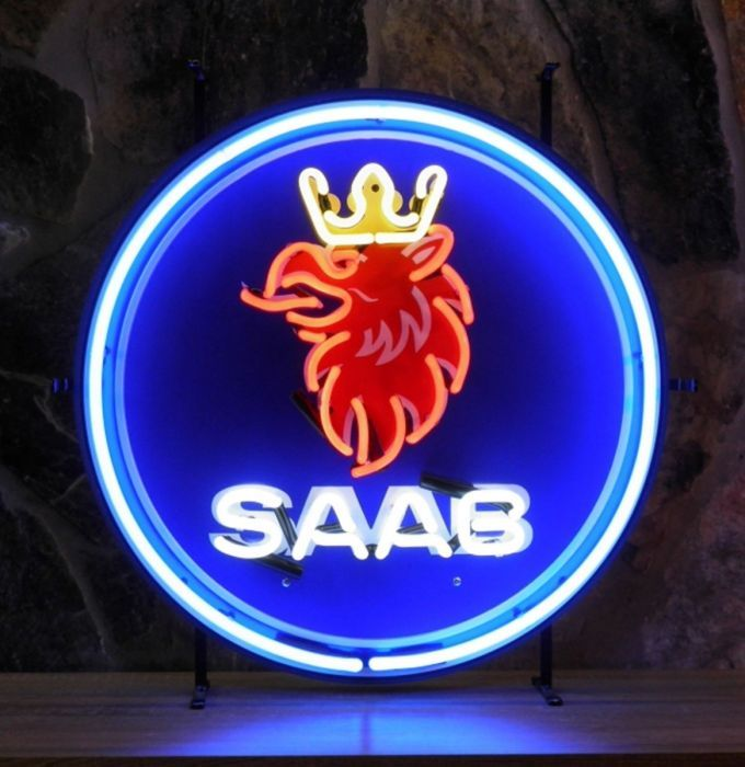 Saab Logo - Saab Logo Neon With Backplate 60 x 60 cm - SPECIAL ORDER ...
