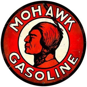 Gas Station Logo - Mohawk Gasoline Round Tin Sign Vintage Gas Station Logo Garage Metal ...