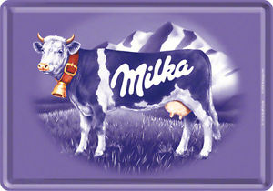 Milka Logo - Retro Tin Metal Postcard 'MILKA' Purple Cow Logo Mini Sign 10 x 14cm ...
