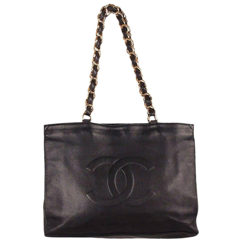 570db880108603 Big Chanel Logo - Chanel Vintage Black Leather Logo Gold Chunky Chain Large  Shopping .