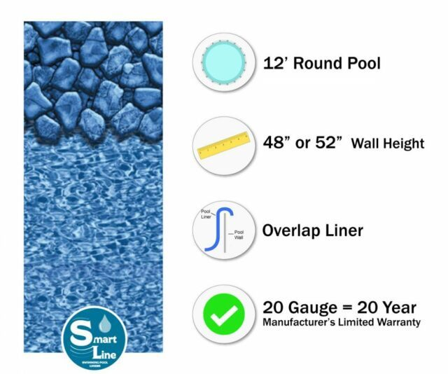 Blue Oval Swirl Logo - Oval Above Ground 12-Feet X 24-Feet Plain Blue Overlap Swimming Pool ...