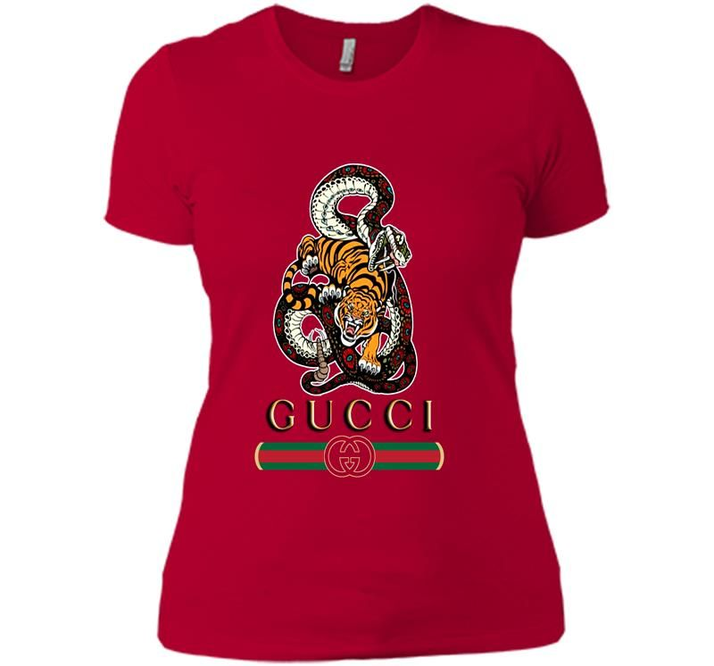 6cdf337def9e Gucci Gang Logo - Snake And Tiger Gucci Gang Logo Women's T-shirt