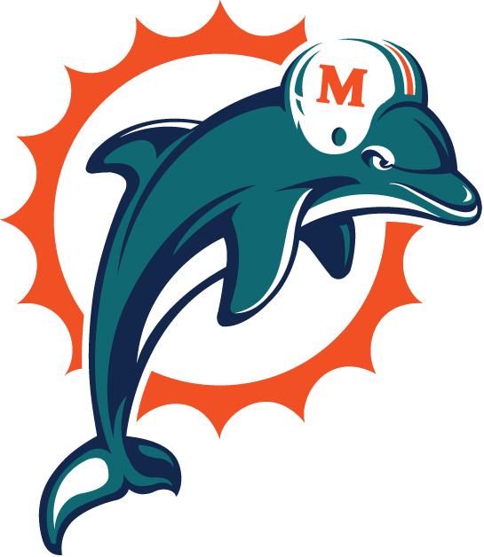 Dolphins Old Logo - Miami Dolphins Primary Logo (1997) - Aqua and navy dolphin leaping ...