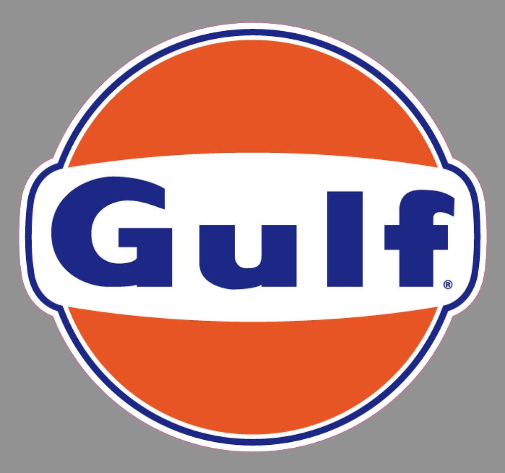 Gas Station Logo - Gulf Oil Gas Station Logo Premium Vinyl Sticker 6