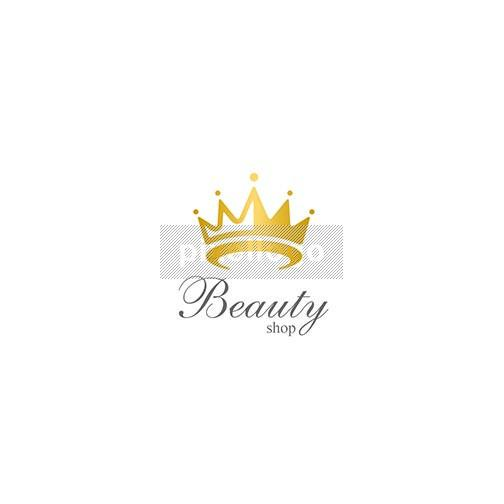 Yellow Gold Crown Logo - Beauty Queen Crown logo | Pixellogo