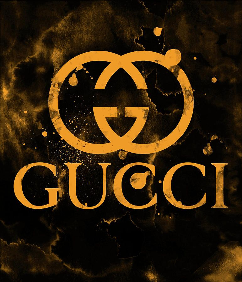 Gucci Logo - Gucci Logo Gold Yellow 2 Digital Art by Del Art