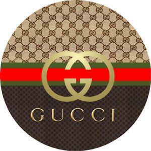 Gucci Logo - GOLD GUCCI LOGO BIRTHDAY BABY SHOWER ROUND PARTY STICKERS FAVORS ...