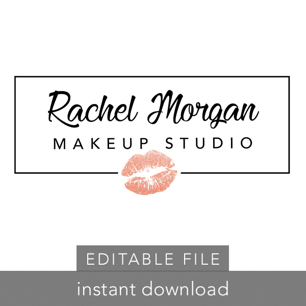 LipSense Logo - EDITABLE Pre-made Logo - Rectangle w/ Lips • ITW Visions