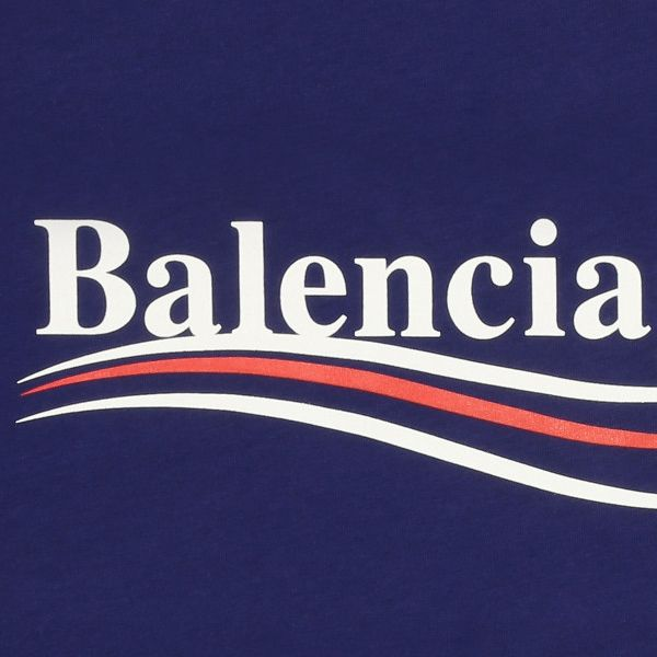 Balenciaga Logo - Blue Wave Logo Cotton Propaganda T-Shirt - Desired Sense