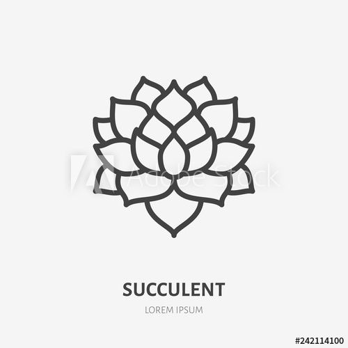 Succulent Logo - Succulent flat line icon. Vector thin sign of house plant, botanical ...