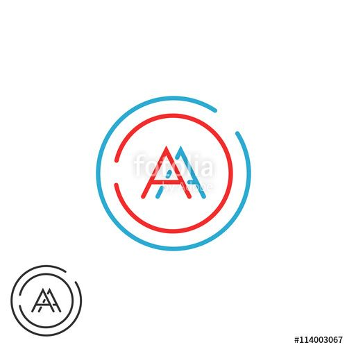 Blue Red Circle with Line Logo - Fusion two letters AA logo monogram, modern hipster blue and red ...