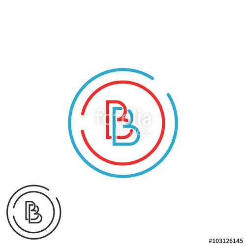 Blue Red Circle with Line Logo - Two letter B logo monogram, bb overlapping symbol blue and red ...