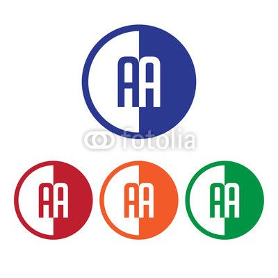 Blue Red Circle with Line Logo - AA initial circle half logo blue,red,orange and green color | Buy ...