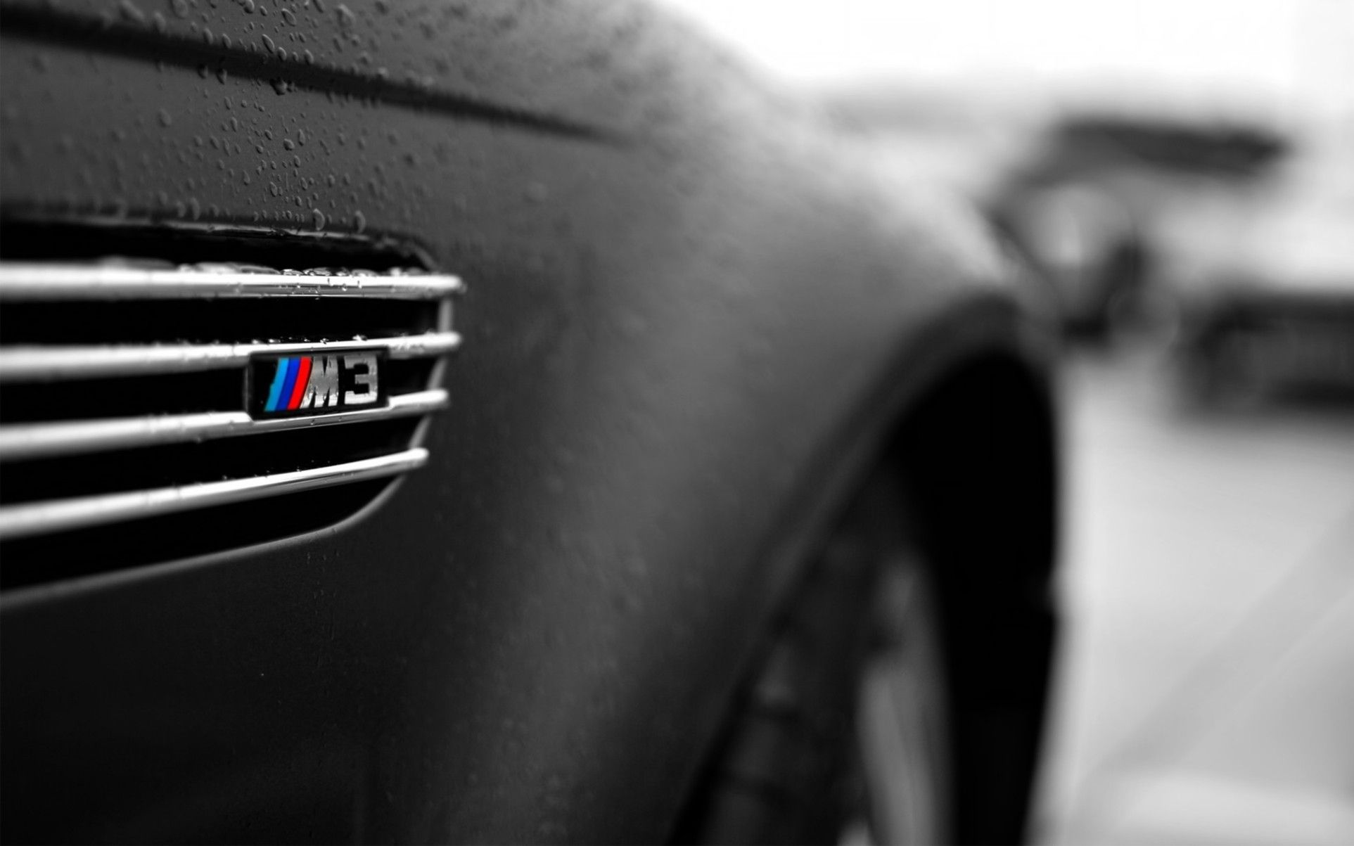 Black and White BMW M3 Logo - close-up, BMW, black, cars, wet, vehicles, selective coloring, logos ...