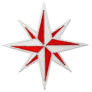 The Red Point Star Logo - Red and White Compass Patch Eight 8-Point Star Embroidered Iron On ...