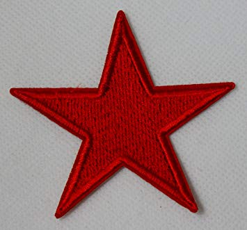The Red Point Star Logo - Large Red 5 Point Star Iron on Sew on Embroidered Patch Badge ...
