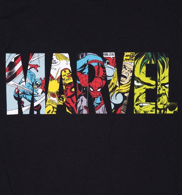 Marvel Logo - Men's Black Marvel Comic Strip Logo T-Shirt