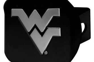 West Virginia University Logo - FanMats® 21054 - Black College Hitch Cover with Chrome West Virginia ...