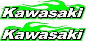 Kawasaki Logo - Kawasaki logo motorcycle flame 2 sticker decal set green 2.5