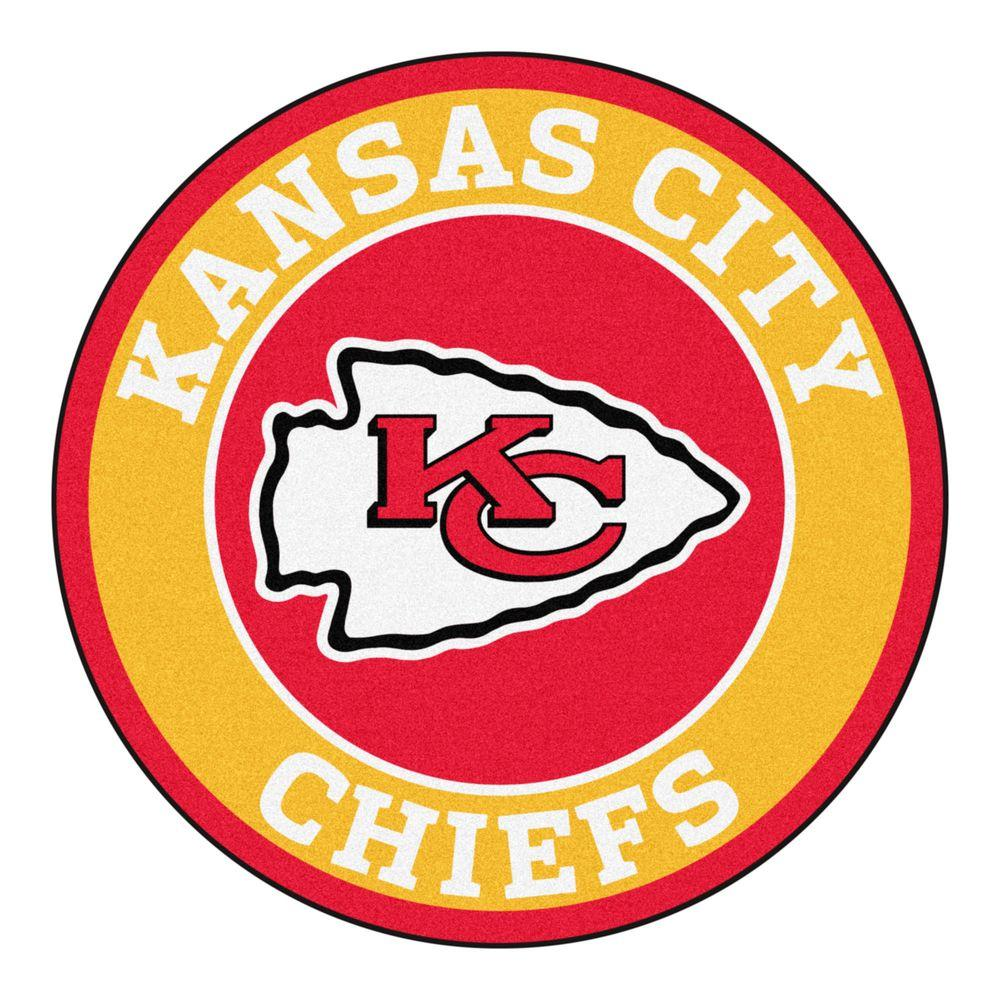 Kansas City Chiefs Logo - FANMATS NFL Kansas City Chiefs Gold 2 ft. x 2 ft. Round Area Rug ...