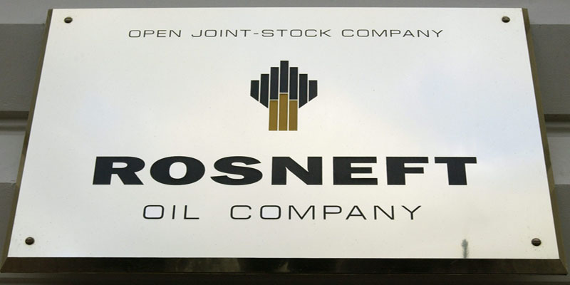 Rosneft Oil Logo - The plate with the logo of Russia's state oil company Rosneft ...