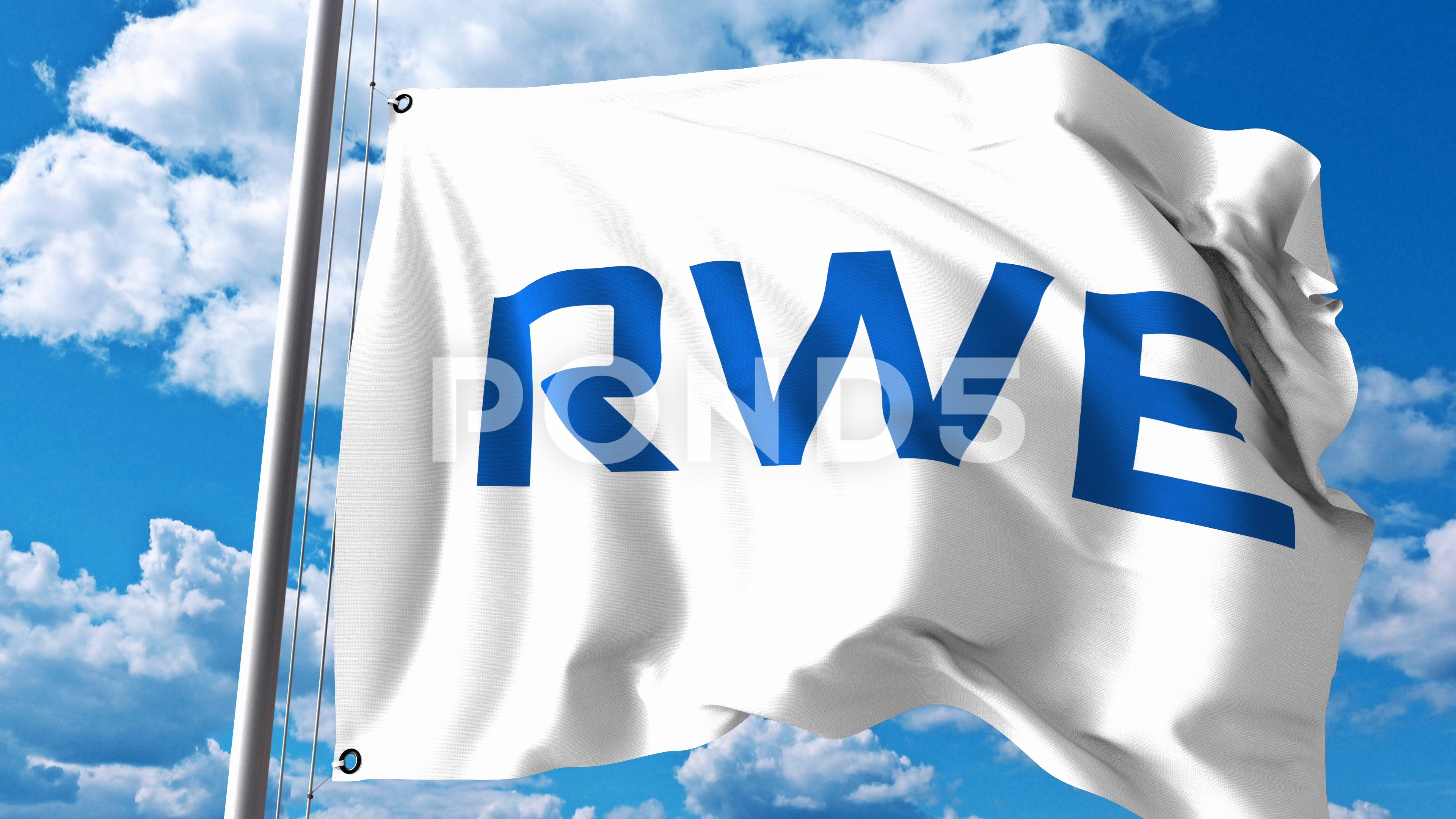 RWE AG Logo - Waving flag with RWE AG logo against clouds and sky. 4K editorial ...