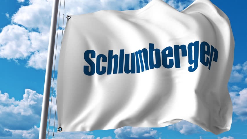 Schlumberger Logo - Waving Flag with Schlumberger Logo. Stock Footage Video (100 ...