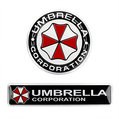Resident Evil Logo - 2PCS PLATING METAL Umbrella Corporation Resident Evil Logo 3D Car ...
