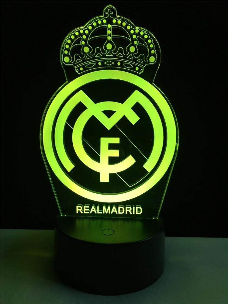 Real Madrid Logo - Real Madrid logo LOGO touch 3D colorful Nightlight lamp – 3D Optical ...