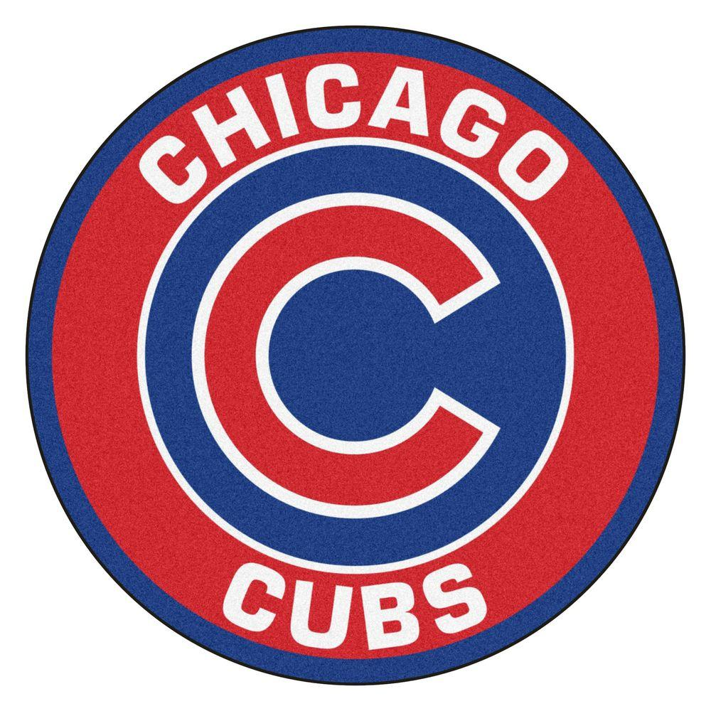 Chicago Cubs Logo - FANMATS MLB Chicago Cubs Red 2 ft. x 2 ft. Round Area Rug-18130 ...