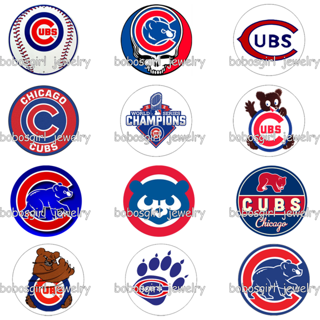 Chicago Cubs Logo - Aliexpress.com : Buy Baseball chicago cubs logo glass snap button ...