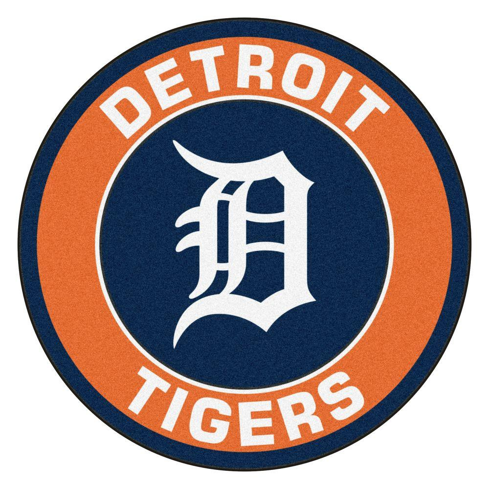 Detroit Tigers Logo - FANMATS MLB Detroit Tigers Orange 2 ft. x 2 ft. Round Area Rug-18135 ...