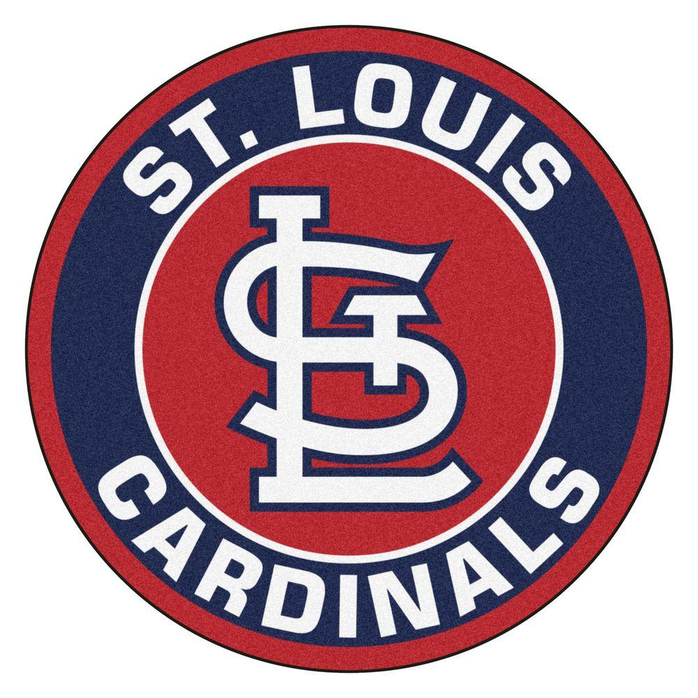 St. Louis Cardinals Logo - FANMATS MLB St. Louis Cardinals Navy 2 ft. x 2 ft. Round Area Rug ...