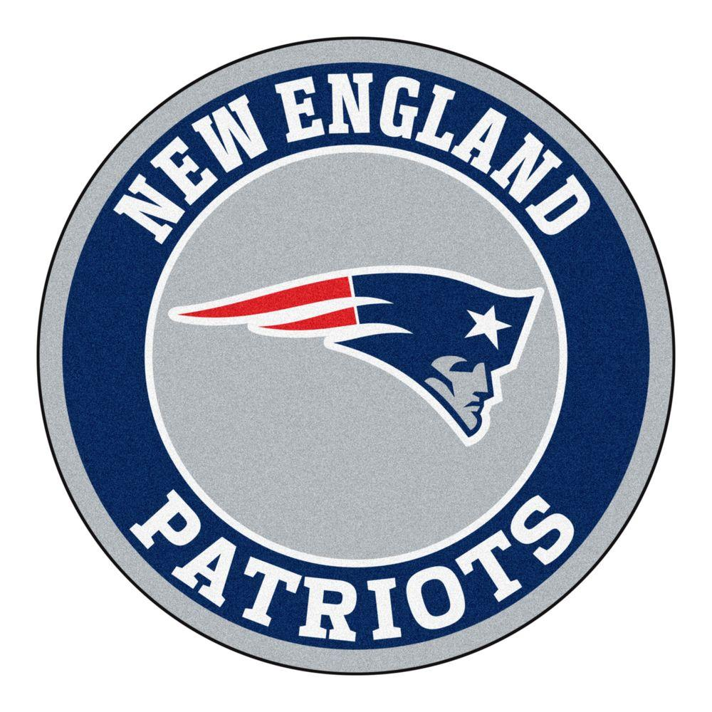 New England Patriots Logo - FANMATS NFL New England Patriots Navy 2 ft. x 2 ft. Round Area Rug ...