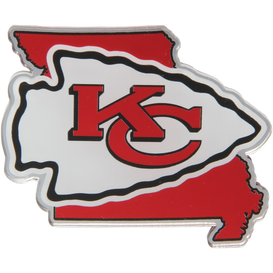 Kansas City Chiefs Logo - Kansas City Chiefs State Shape Acrylic Metallic Auto Emblem