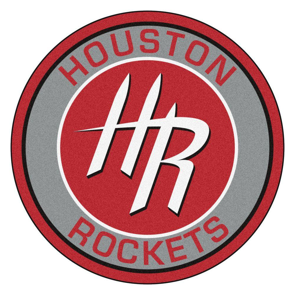 Houston Rockets Logo - FANMATS NBA Houston Rockets Gray 2 ft. x 2 ft. Round Area Rug-18836 ...