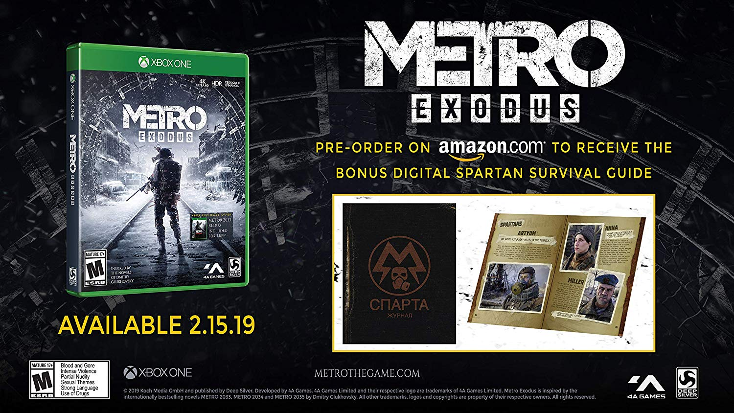 Metro Exodus Logo - Amazon.com: Metro Exodus: Day One Edition - Xbox One: Square Enix ...