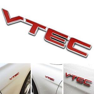 Red and Silver S Car Logo - NEW Metal VTEC Logo Car Body Emblem Badge Sticker Decal for Honda ...